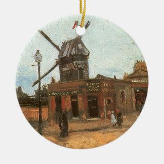 Moulin de la Galette de Van Gogh, molino de viento Adorno Redondo De Cerámica