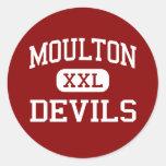 Moulton - diablos - escuela secundaria - Moulton Etiqueta Redonda