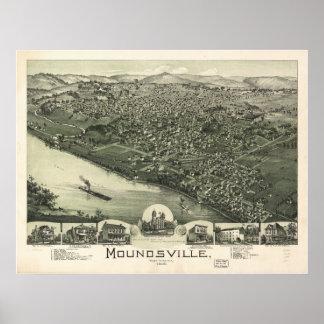 Moundsville W. Virginia 1899 Antique Panoramic Map Print