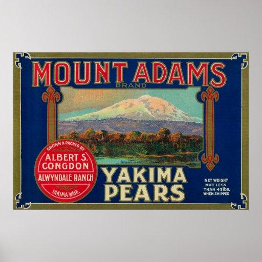 Mount Adams Pear Crate LabelYakima, WA Posters