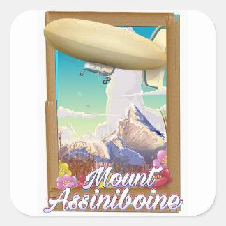 Mount Assiniboine Blimp vacation poster Square Sticker