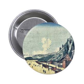 Mount Atago at Shiba by Utagawa, Kuninao Ukiyoe 2 Inch Round Button