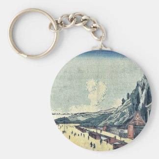 Mount Atago at Shiba by Utagawa, Kuninao Ukiyoe Basic Round Button Keychain