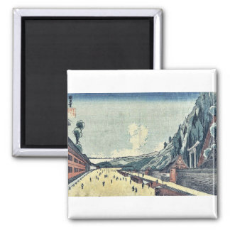 Mount Atago at Shiba by Utagawa, Kuninao Ukiyoe 2 Inch Square Magnet