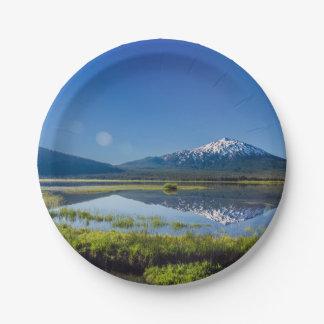 Mount Bachelor Lens Flare Paper Plate
