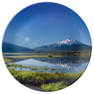 Mount Bachelor Lens Flare Porcelain Plate