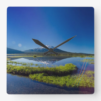 Mount Bachelor Lens Flare Square Wall Clock