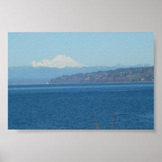 Mount Baker from Edmonds Beach Washington Poster