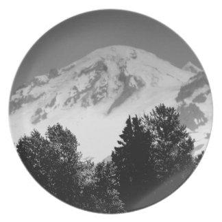 Mount Baker Through Trees Dinner Plate