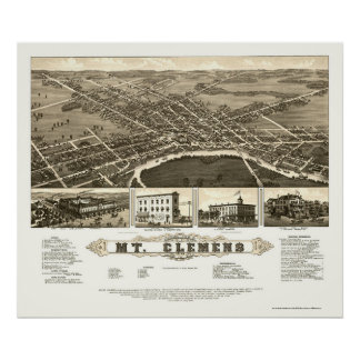 Mount Clemens, MI Panoramic Map - 1882 Poster