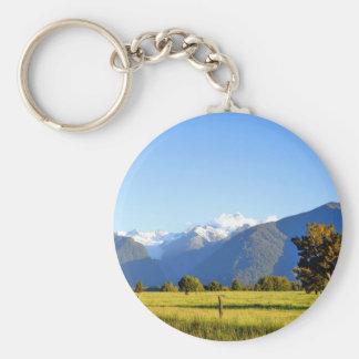Mount Cook and Mount Tasman, New Zealand Basic Round Button Keychain