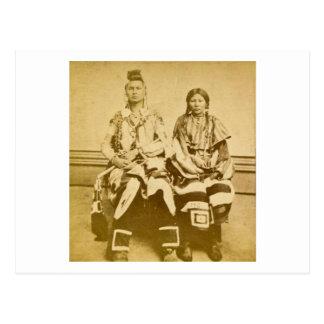 Mount Dakota Territory Crow Warrior and Bride Postcard