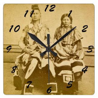Mount Dakota Territory Crow Warrior and Bride Square Wall Clock