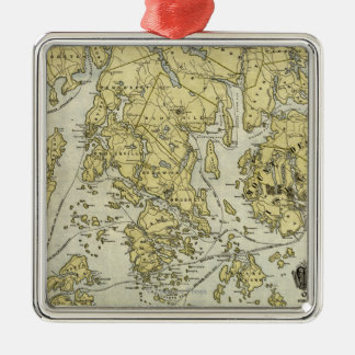 Mount Desert Island and Coast of Maine Map Metal Ornament