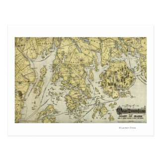 Mount Desert Island and Coast of Maine Map Postcard
