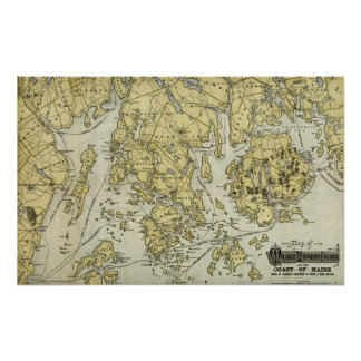 Mount Desert Island and Coast of Maine Map Posters