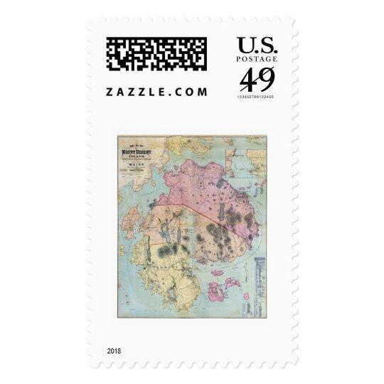 Mount Desert Island Maine Map - 1887 Postage