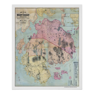 Mount Desert Island Maine Map - 1887 Poster