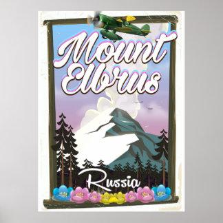 Mount Elbrus, Russian travel poster