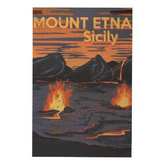 Mount Etna, Sicily vintage travel poster Wood Wall Art