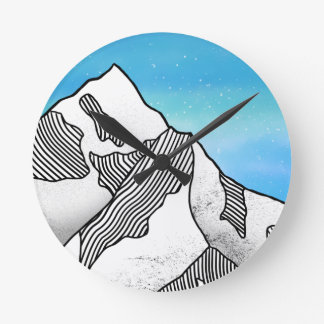 Mount Everest Line Art Watercolor Round Clock