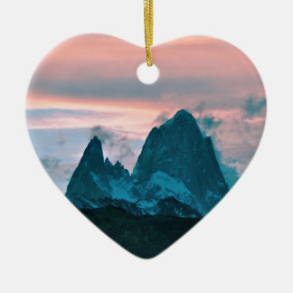 Mount Fitz Roy, Patagonia, Argentina at dusk Ceramic Ornament