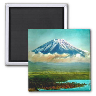 Mount Fuj beyond Lake Motos Vintage Japan 富士山 Magnet