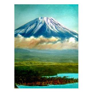 Mount Fuj beyond Lake Motos Vintage Japan 富士山 Postcard