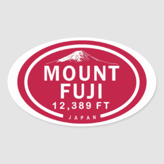 Mount Fuji 12,389 FT Japan Mountain Oval Sticker