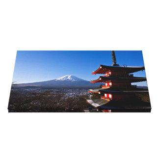 Mount Fuji and red pagoda Canvas Print
