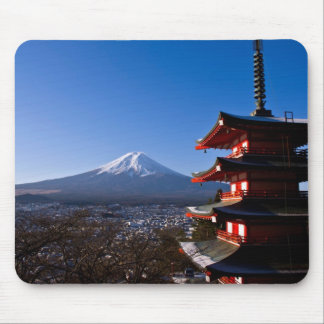 Mount Fuji and red pagoda Mouse Pad