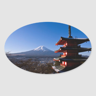 Mount Fuji and red pagoda Oval Sticker