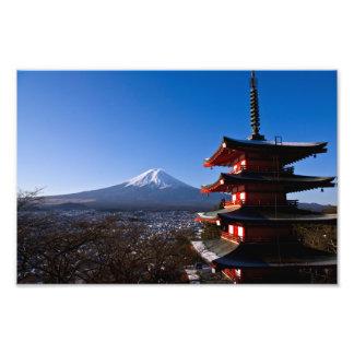 Mount Fuji and red pagoda Photo