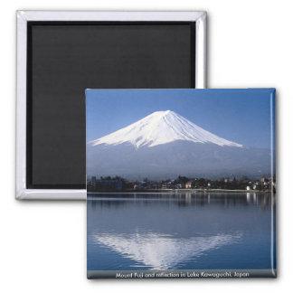 Mount Fuji and reflection in Lake Kawaguchi, Japan 2 Inch Square Magnet