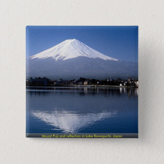 Mount Fuji and reflection in Lake Kawaguchi, Japan Button