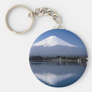 Mount Fuji and reflection in Lake Kawaguchi, Japan Keychain