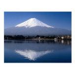 Mount Fuji and reflection in Lake Kawaguchi, Japan Post Card