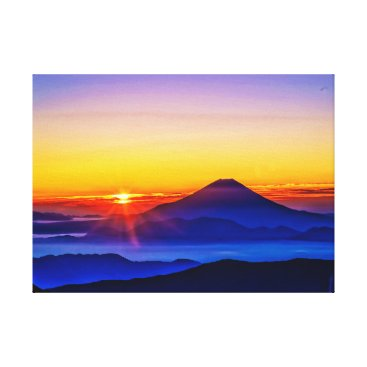 Art Themed Mount Fuji and Sunset Canvas Print