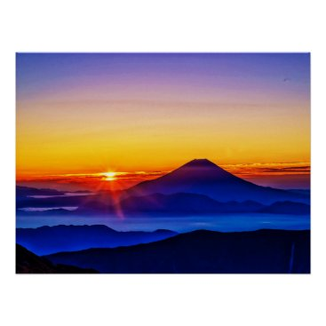 Art Themed Mount Fuji and Sunset Poster