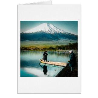 Mount Fuji from Lake Yamanaka 富士 Vintage Card