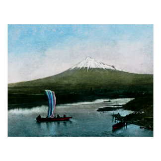 Mount Fuji Japan Lake Yamanaka Vintage Poster