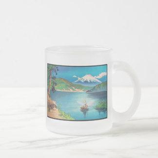 Mount Fuji Japanese Woodblock - Beautiful Frosted Glass Coffee Mug