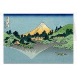 Mount Fuji reflects in Lake Kawaguchi, Hokusai Card