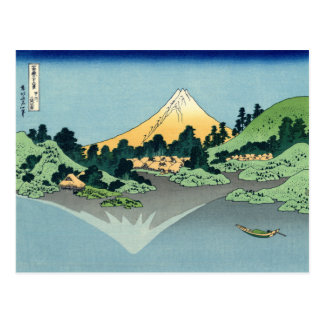 Mount Fuji reflects in Lake Kawaguchi, Hokusai Postcard