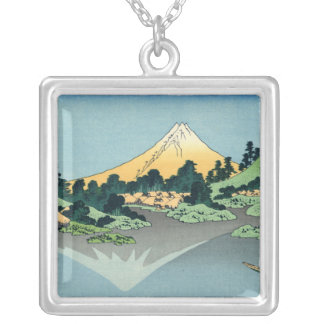 Mount Fuji reflects in Lake Kawaguchi, Hokusai Silver Plated Necklace