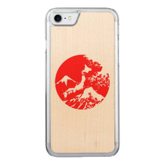 Mount Fuji Retro Case. Red Japanese Print Carved iPhone 7 Case