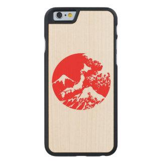 Mount Fuji Retro Case. Red Japanese Print Carved Maple iPhone 6 Slim Case