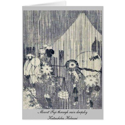 Mount Fuji through rain dropsby Katsushika,Hokusai Stationery Note Card