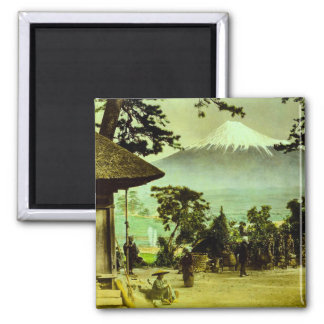 Mount Fuji through the Pines of Suzukawa Vintage Magnet