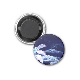 Mount Fujiyama Japanese Negative Vintage Blue Leaf 1 Inch Round Magnet